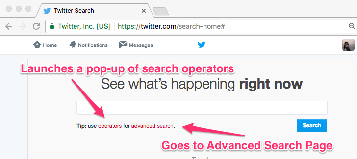 Twitter's Search Home Page
