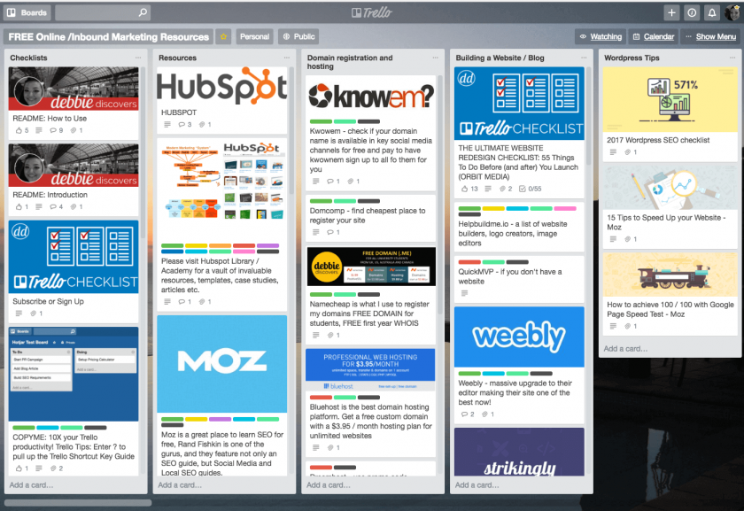 Learn Online Marketing with My Public Trello Board Free Resources