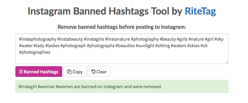 banned hashtags ritetag tool