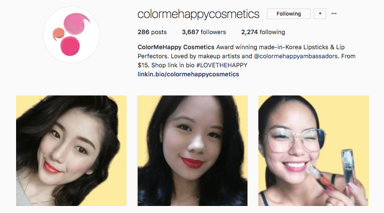 colormehappycosmetics instagram profile