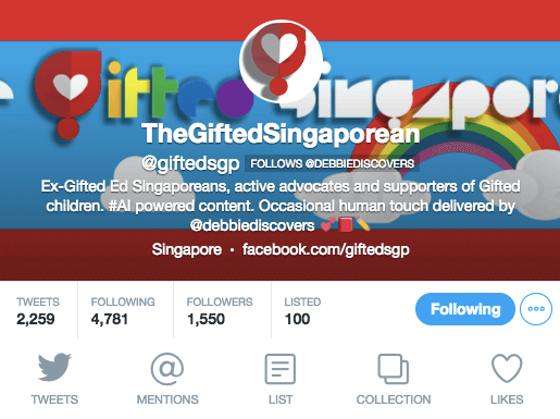 Gifted Singaporean profile on Twitter